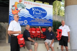 Sicamous Boat Launch: Paul Keam (Crew), Terry Rysz, Mayor, District of Sicamous), Pat Gau (Bayview Homes/Deputy Leader RCMSAR 106), Bruce Weicker (President, Shuswap Lifeboat Society)